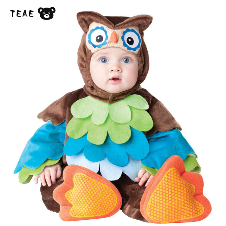 TEAEGG Lucky Baby Animal Cosplay Owl photography One piece Overall  Ester Party Clothes for newborn infant child zipper Romper