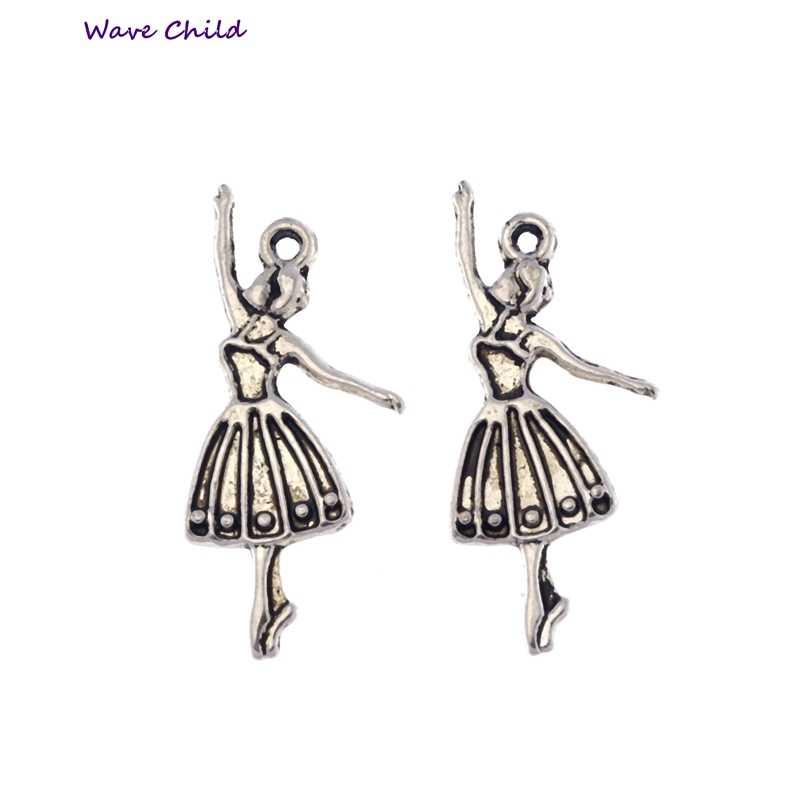 10pcs Argento Tibetano Ballerina Pendenti e Ciondoli Pendenti con gemme e perle Collana di Perline Gioielli FAI DA TE 32X13mm