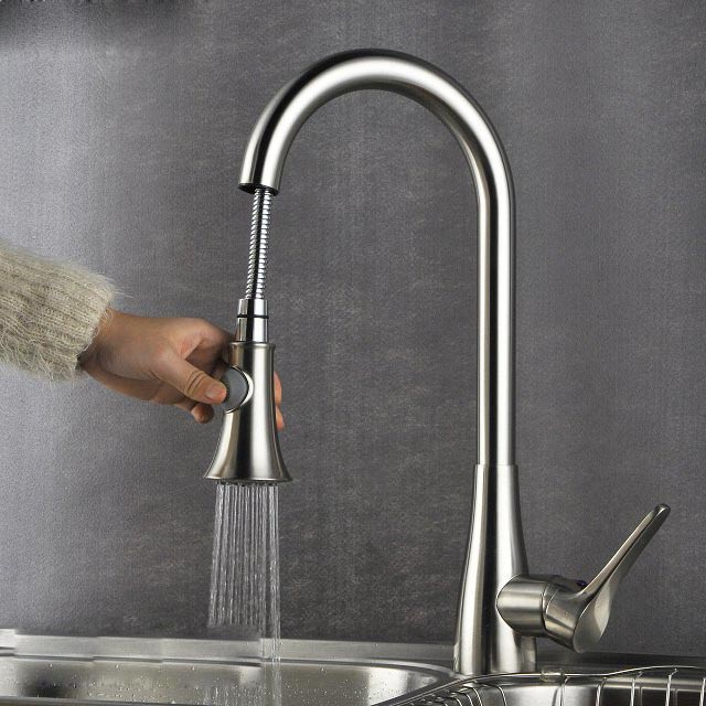 Modern Kitchen Sink Faucet Mixer Chrome Finish Kitchen Double Sprayer Pull-Out Water Tap torneira cozinha Rotate Hot Cold Tap new pull out sprayer kitchen faucet swivel spout vessel sink mixer tap single handle hole hot and cold