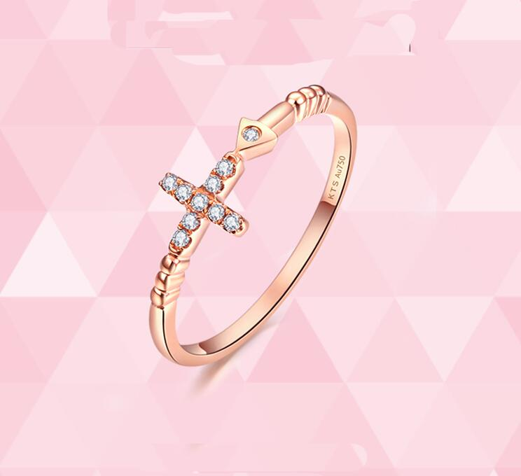 Authentic AU750 Rose gold cross Ring fashion cute casual ring 1.11g Hot sale authentic au750 rose gold ring fashion number designer 520 ring 0 95g hot sale