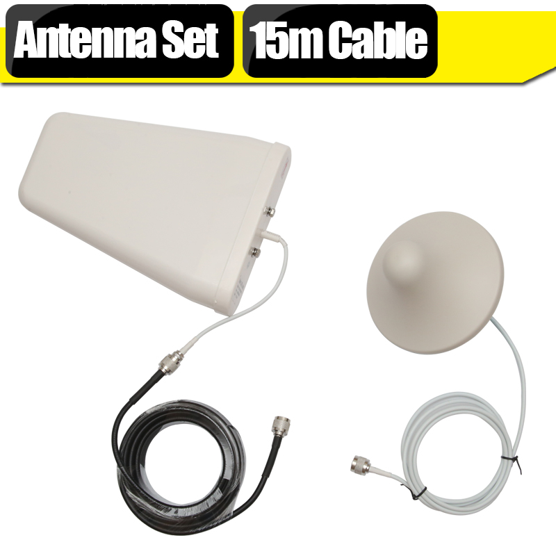 GSM 3G WCDMA 4G LTE Signal Booster Antenna Set 10dBi Log Periodic Antenna + 3dBi Omni Ceiling Antenna +15 Meters Coaxial Cable