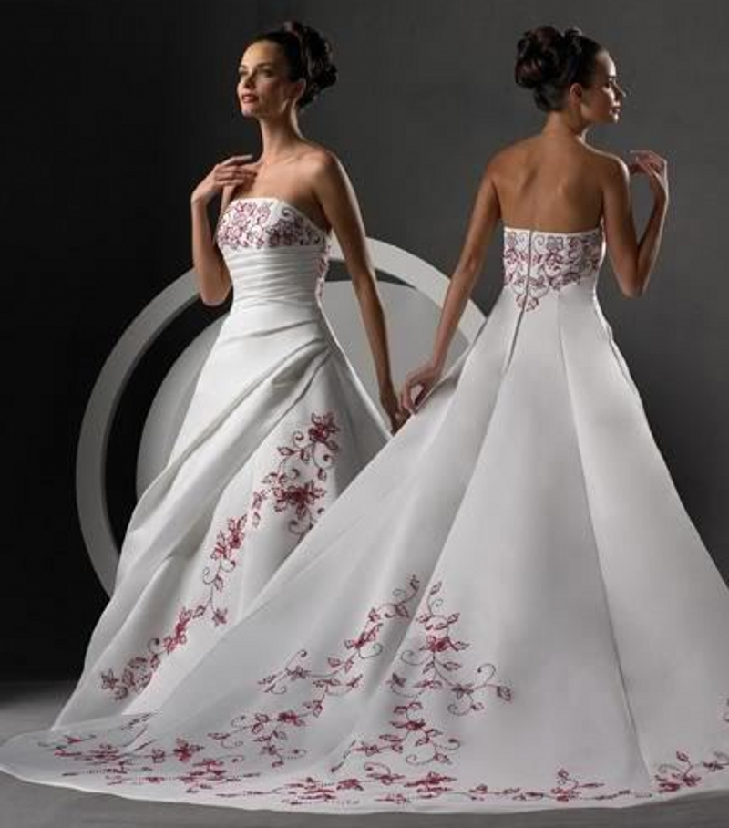 Red And White Wedding Dresses: Red And White Wedding Dress Long 2016 A Line Weddingdress
