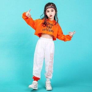 Image 3 - Джазовые танцевальные костюмы, хип хоп детский топ с длинным рукавом и капюшоном, штаны для девочек, одежда в стиле хип хоп, одежда для уличных танцев, сценических шоу