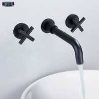 Matte Black & Chrome Double Handles Basin Faucet Wall Mounted Brass Bathroom Mixer Water Tapware 360 Degree Rotatable