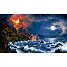 Full Square Drill 5D DIY Seaside volcano moon diamond painting Cross Stitch 3D Embroidery Kits  H118 full square drill 5d diy seaside volcano moon diamond painting cross stitch 3d embroidery kits h118