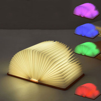 USB Rechargeable 5 Colors Changing Auto Led Foldable Book Shape Night Light Portable Book Lamp