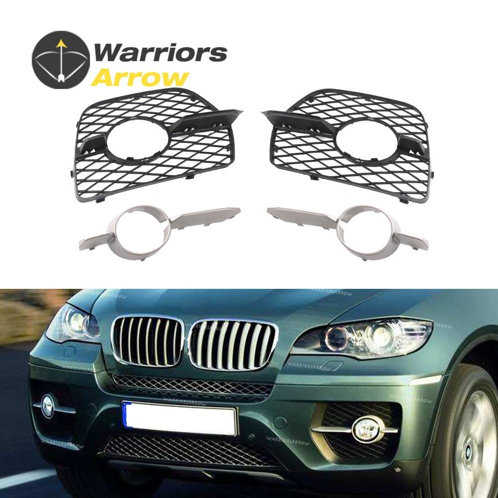 4Pcs Set For BMW X6 E71 E72 Hyb 2008 2014 Front Bumper Fog Light Foglamp Lateral