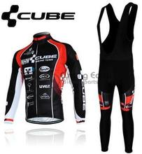 3D Silicone! 2013 CUBE #1 team Winter long sleeve cycling jerseys+bib pants bike bicycle thermal fleeced wear set+gel pad