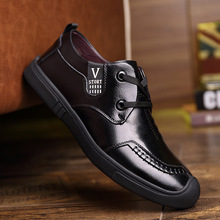2019 famous brand sewing thread and totem decorated leather tide shoes men's solid color round head business casual wild shoes solid color pu thread men's casual shoes