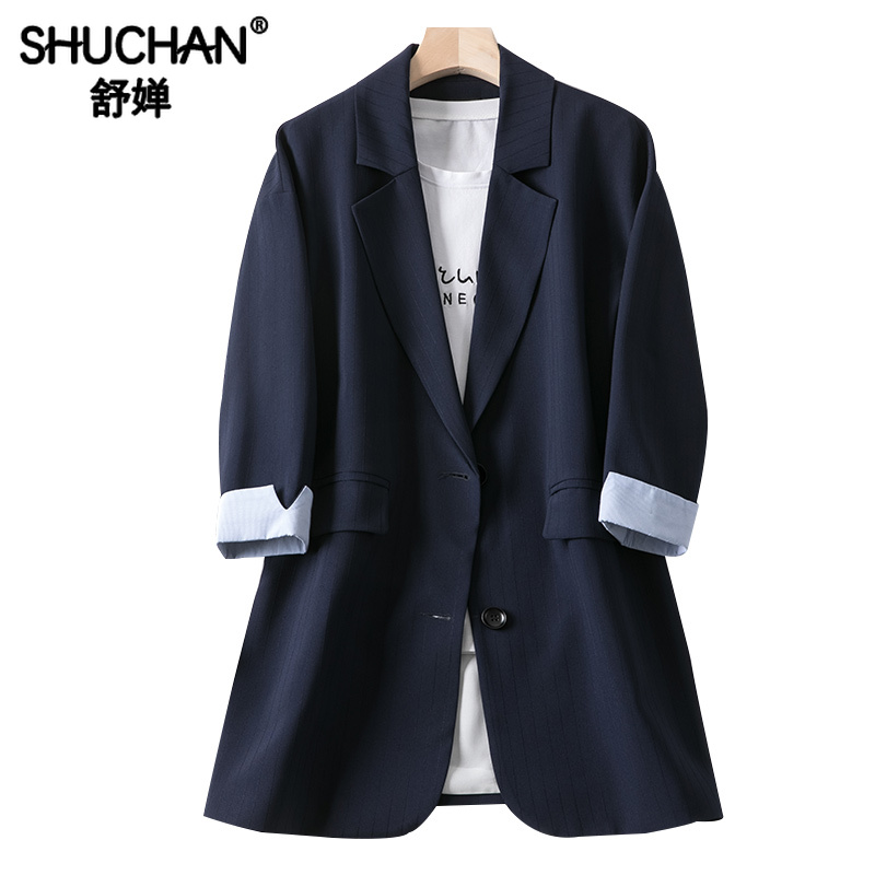 Shuchan Dark Blue Brazer Feminino Single Breasted Solid Women Blazers and Jackets with 3/4 Sleeve Long Blazer VS17C139E
