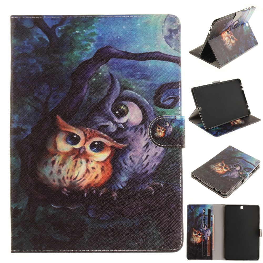 цена на For Case Samsung Galaxy Tab S2 9.7 T810 T815 Coque Fashion Design PU Leather Flip Stand Cover Cases Funda TPU Tablet Skin