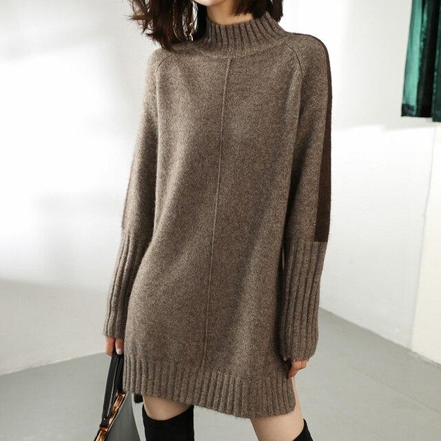 SZDYQH Women Autumn Winter Sweater Knitted Dresses Women Fashion Turtleneck Long Sweater Dress Ladies Warm Split Sweater Dress