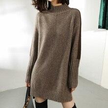SZDYQH kobiety jesień zima sweter sukienki z dzianiny kobiety moda golf długi sweter sukienka panie ciepły podział sweter sukienka