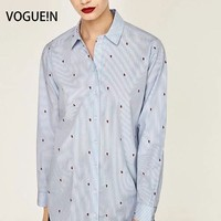 VOGUE N New Womens Striped Insect Print Long Sleeve Button Down Shirt Blouse Tops Wholesale Size