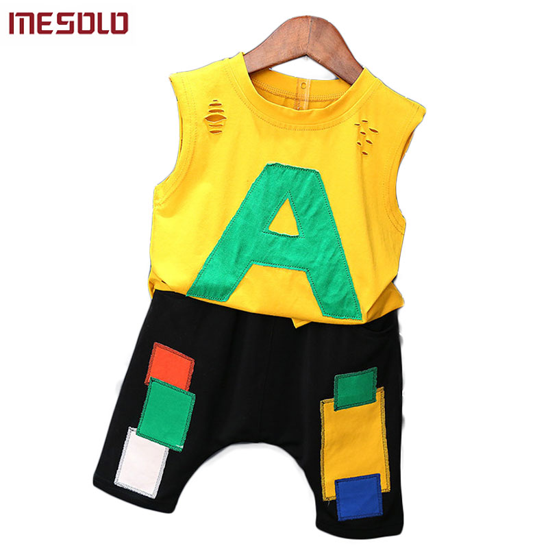 MESOLO Vogue of new fund of 2017 summer han edition sleeveless boy two suit children 2 to 8 years old baby boomers D5374