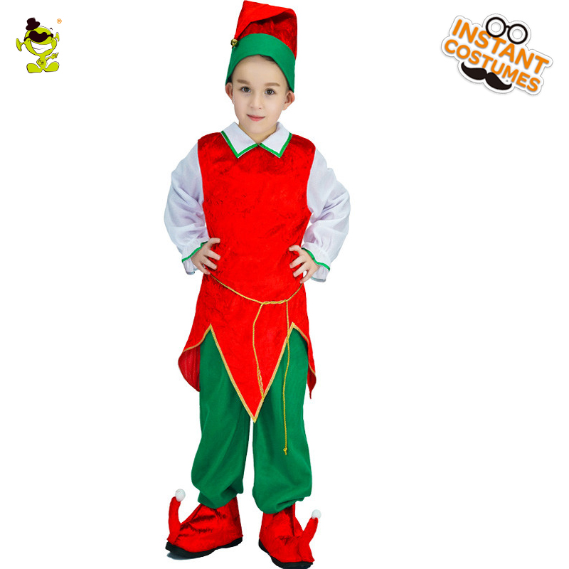 Kids Elf Costumes Boys Christmas Carnival Party fairy Role Play Suits Loveable Red&Green Elfin Clothes for Halloween Party