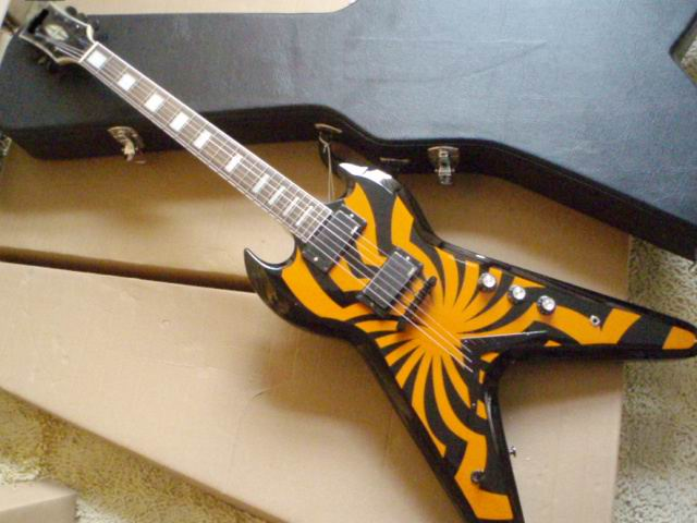 Wholesale G Custom Zakk Wylde Flying V Electric Guitar IN Windmill ORANGE BLACK a100107