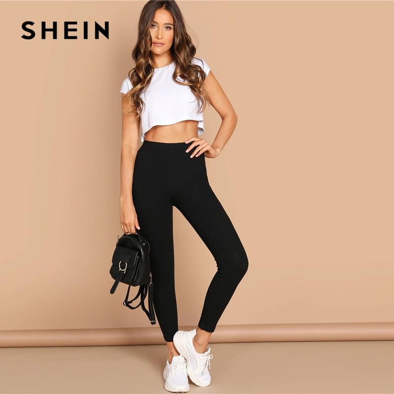 SHEIN High Waist Rib Knitted Solid Casual Leggings Women Spring Autumn Stretchy Fitness Midi Waist Skinny Basics Crop Leggings 2