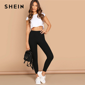 Image 2 - SHEIN High Waist Rib Knitted Solid Casual Leggings Women Spring Autumn Stretchy Fitness Midi Waist Skinny Basics Crop Leggings