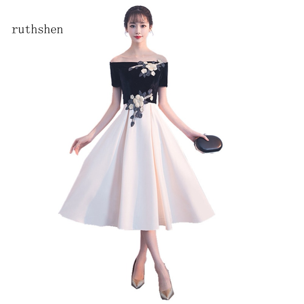 ruthshen 2018 Tea Length Prom Dresses Appliques Sexy Boat Neck Prom Party  Gown A Line Lace Up Back Luxury Vestidos Dresses 2018-in Prom Dresses from  ... d9bb9cc98ca0
