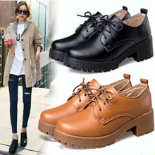 2015 Autumn/Winter New Arrival Genuine Leather Shoes Women Thick Heels Platform Oxfords Comfortable British Style Girls flats