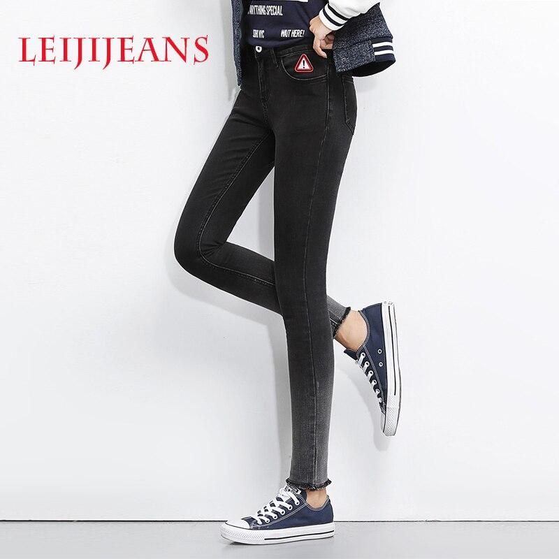 leiji font b jeans b font black demin font b women b font skinny font b