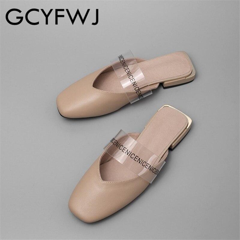 GCYFWJ skóry wołowej przezroczysta folia Baotou klapki damskie buty damskie kwadratowe Toe niski obcas moda na zewnątrz zwykłe kapcie sandały w Kapcie od Buty na  Grupa 1