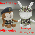 35cm Korean Descendants Of The Sun Wolf Rabbit Sing Birthday&I Love You Plush Soft Doll Animal Stuffed Toy For Baby Kids Gift