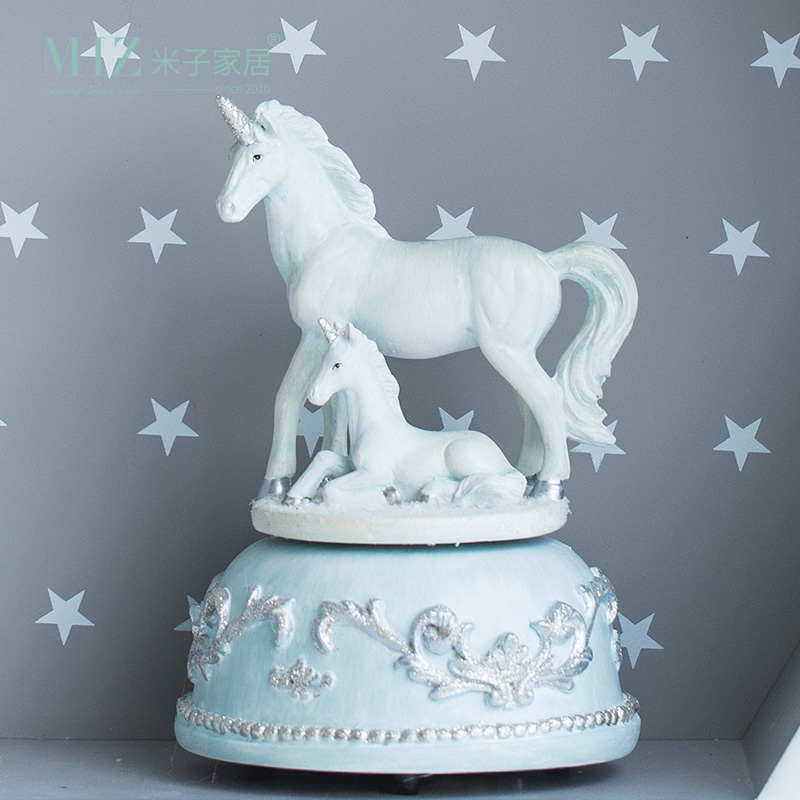 Miz 1 Piece Cartoon Toy for Children Eco friendly Gift Animal Resin Figurine Unicorn Music Box