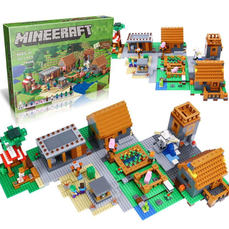 LEPIN 18008 1673pcs Minecrafted My World Series Village Constructor Building Blocks Bricks Compatible 21128 Toys for Children lepin 18010 my world 1106pcs compatible building block my village bricks diy enlighten brinquedos birthday gift toys kids 21128