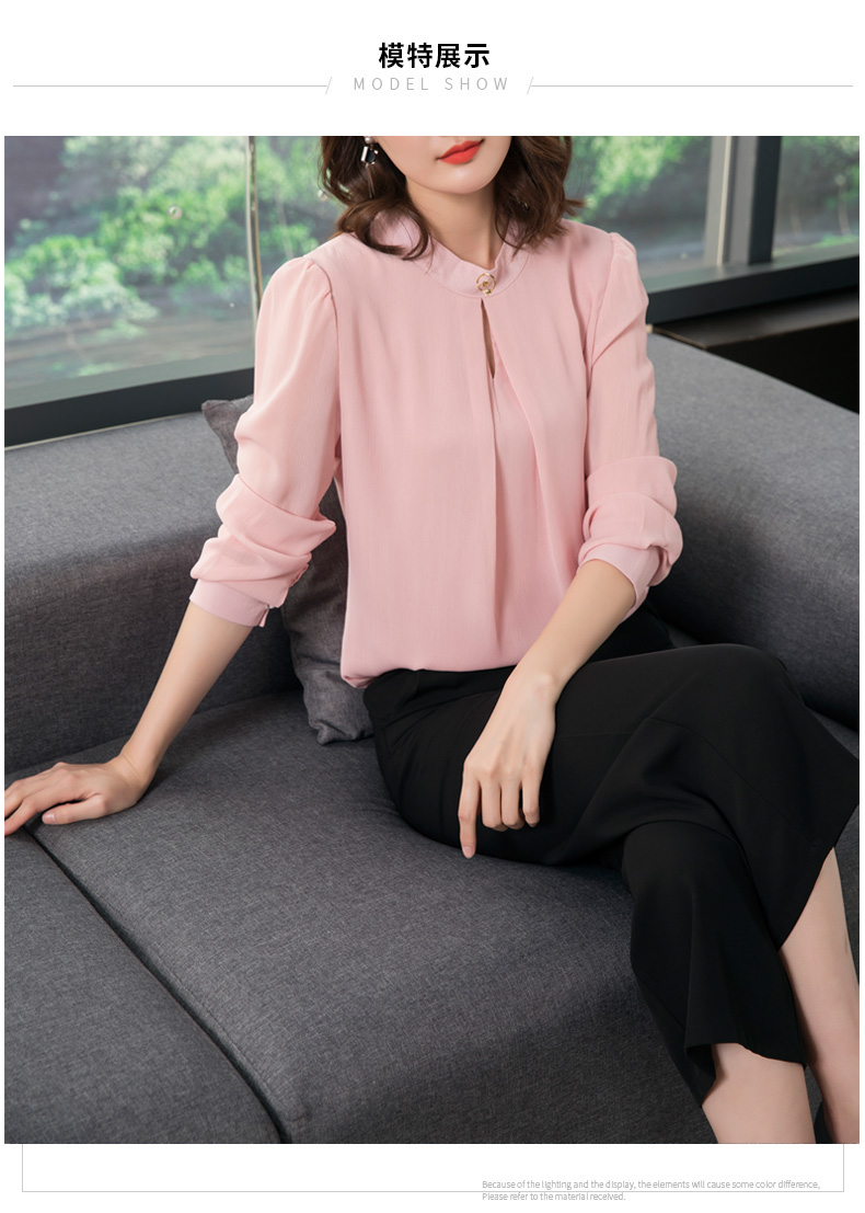 3839aa78e87 2019 2018 Spring Autumn Chiffon Blouse Womens Tops And Blouses Long ...