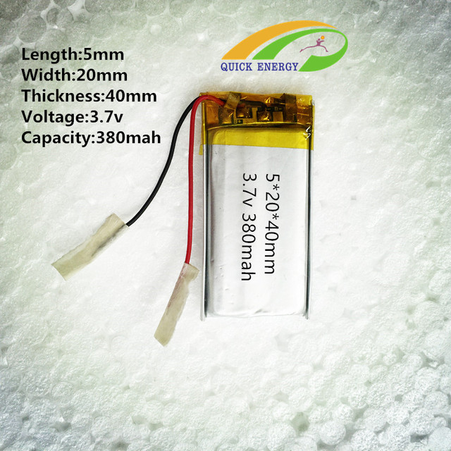 3.7V thium polymer battery 522040 052040 502040 380MAH MP3 point pen battery