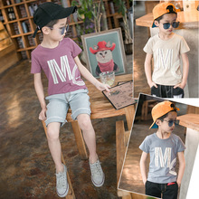 Japan Style Fashion Print M T-shirts for Big Boys Cotton Tees For Children Short Sleeve Tops Short Sleeve Shirts Letter Clothes