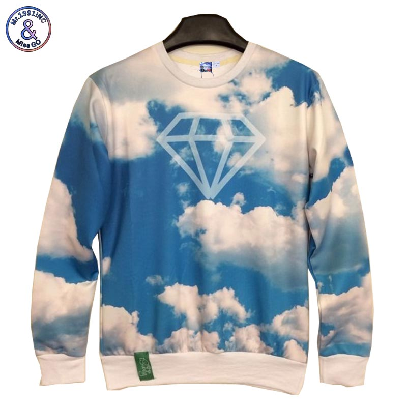 2017 Mr.1991INC New Fashion Men/Womens 3d sweatshirts printing blue sky white clouds diamond space galaxy Hoodies casual tops