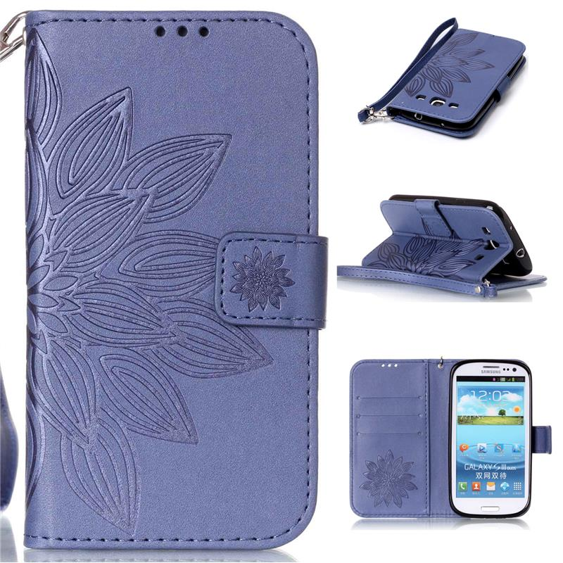 8ceb7f33fbb Wallet Style Embossed Leather Case For Samsung Galaxy S3 mini 8190 Flip  Cover With 9H Real Tempered Glass Screen Protector Film