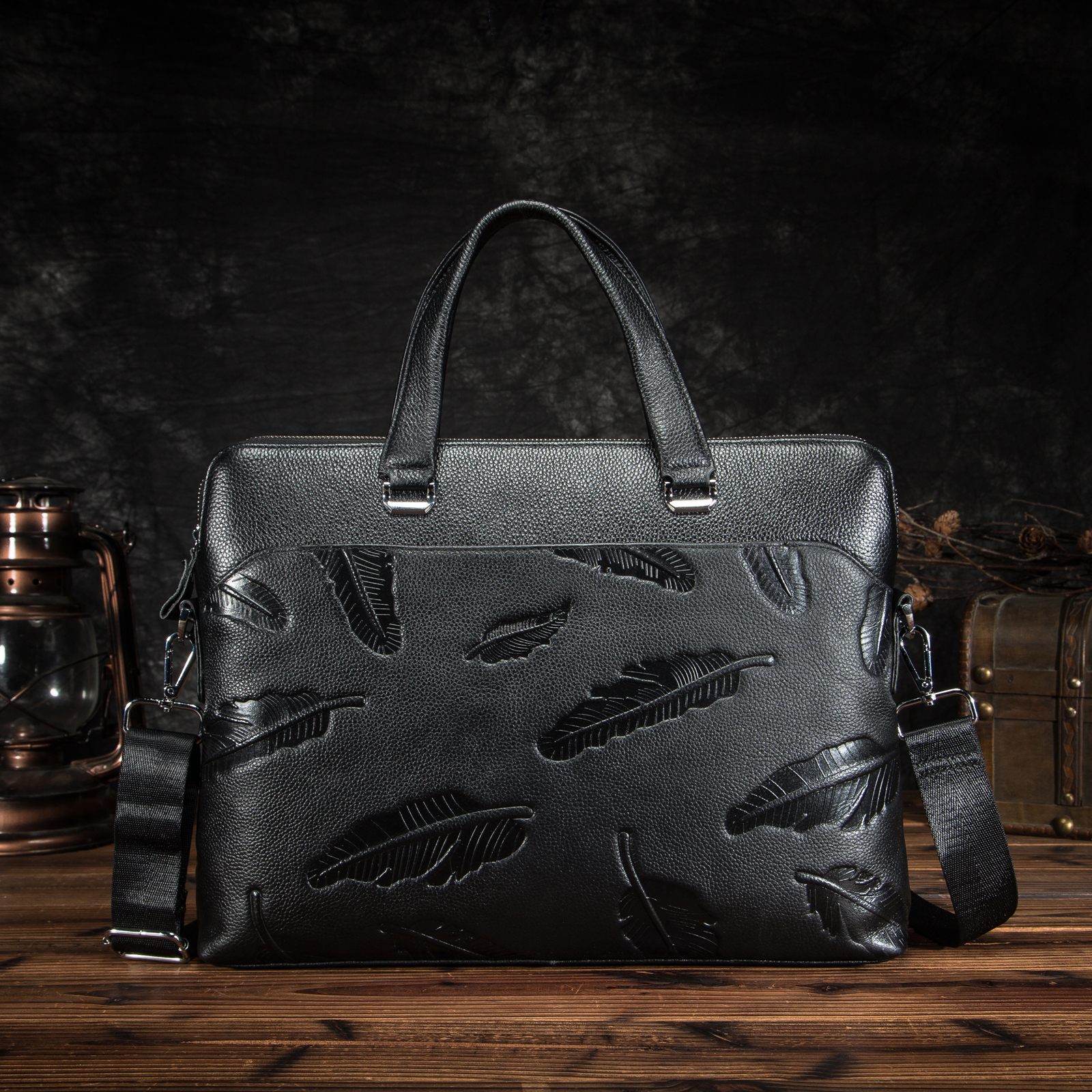 Men Quality Leather Fashion Black Business Briefcase 15
