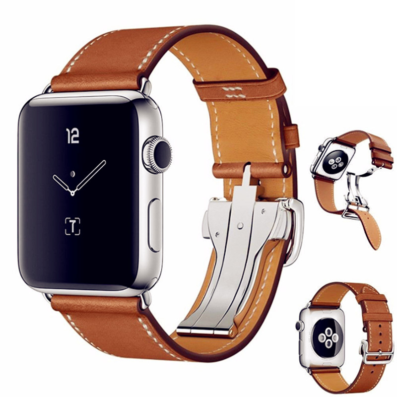 ASHEI for Apple Watch 3 Band Newest Fashion Genuine Leather Band Deployment Buckle Single Tour Bracelet Strap for iWatch 1/2 istrap black brown red france genuine calf leather single tour bracelet watch strap for iwatch apple watch band 38mm 42mm
