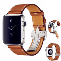 ASHEI for Apple Watch 3 Band Newest Fashion Genuine Leather Band Deployment Buckle Single Tour Bracelet Strap for iWatch 1/2