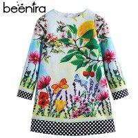 Beenira 2017 New Fashion Brand Style Children Full Sleeve Flower Pattern Princess Dress Design 4 14Y