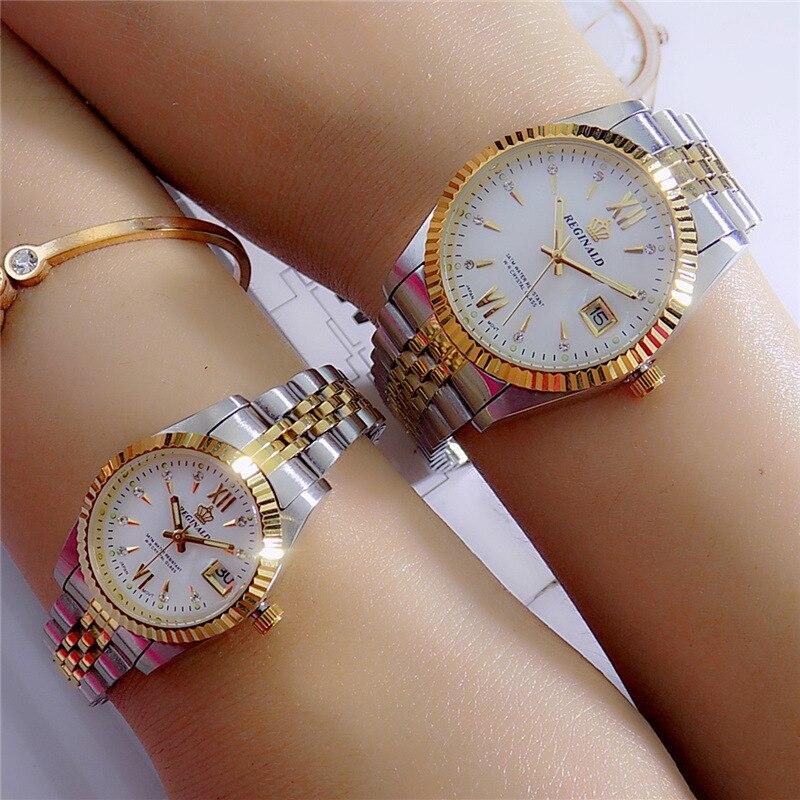 Reginald Brand Men Dress Style Business Watch Steel Wristband Golden Men Quartz Watch Valentine s Day