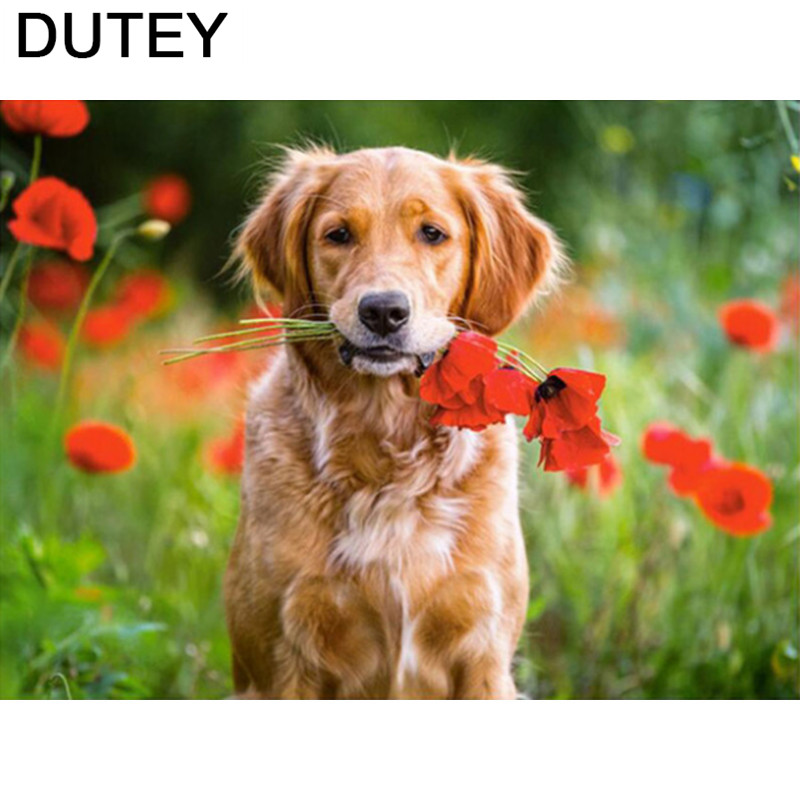 Flower Dog Animal DIY 5D Diamond Embroidery Painting Cross Stitch Kit Home Decor