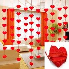 5 ชุด (80 pcs) 2 ขนาด Heart Garland 3m เชือก Charm DIY ผ้าม่านไม่ทอสำหรับงานแต่งงานหน้าแรกวาเลนไทน์ตกแต่ง