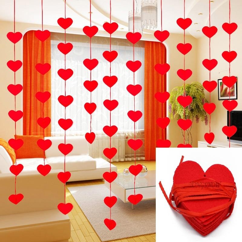 5sets (80 stücke) 2 größe Herz Girlande Mit 3m Seil Charme DIY Vorhang Fühlte vlies Für Home Hochzeit Party Valentinstag dekoration