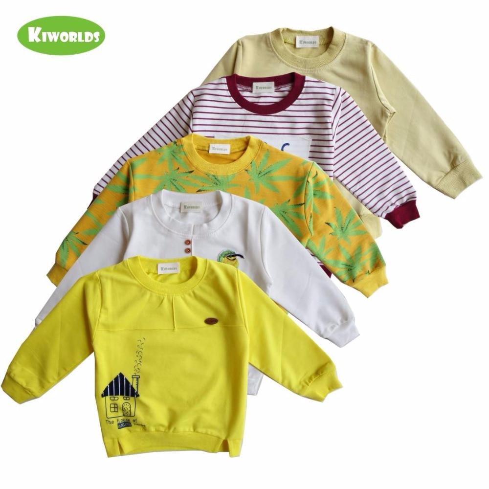 Весна Лидер продаж Желтый Белый Красный хлопка с длинным рукавом Футболка для мальчиков и девочек, с милой узоры, теплая детская одежда