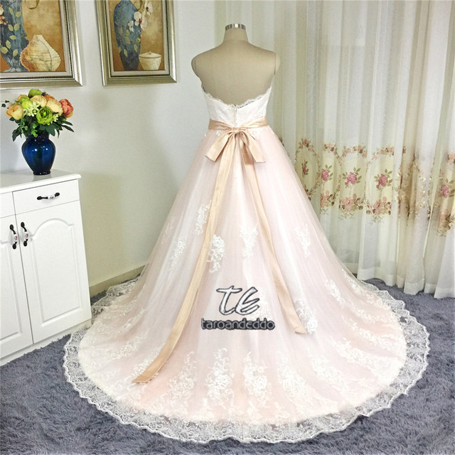 Online Shop Princess Ball Gowns Blush Wedding Dress With Sash