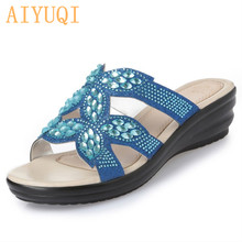 AIYUQI 2019 Women's slippers, flip flop outdoor bright diamond decoration comfortable Golden flat mother shoes women's slippers(China)