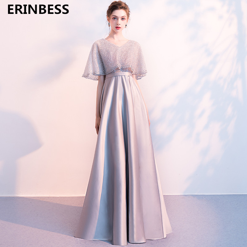 Satin With Crystal   Evening     Dresses   Long   Dress   Sexy V-Neck A-line Half Sleeve   Evening     Dress   2019 Formal Party Gowns For Women