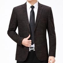 WAEOLSA Men Business Blazers  Blends Suit Jackets Man Elegance Blazer Hombre 2 Buttons Front Coat Male Office Apparel 2019