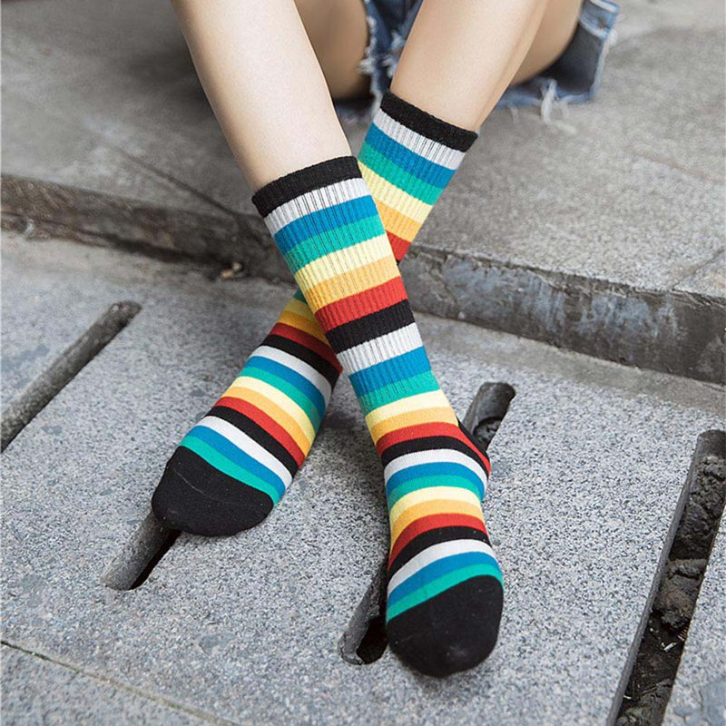 New Fashion Style 2019  Rainbow Socks Cotton Short Tube College Stripe Socks Women Girls Funny Colorful Skateborad Cool Socks