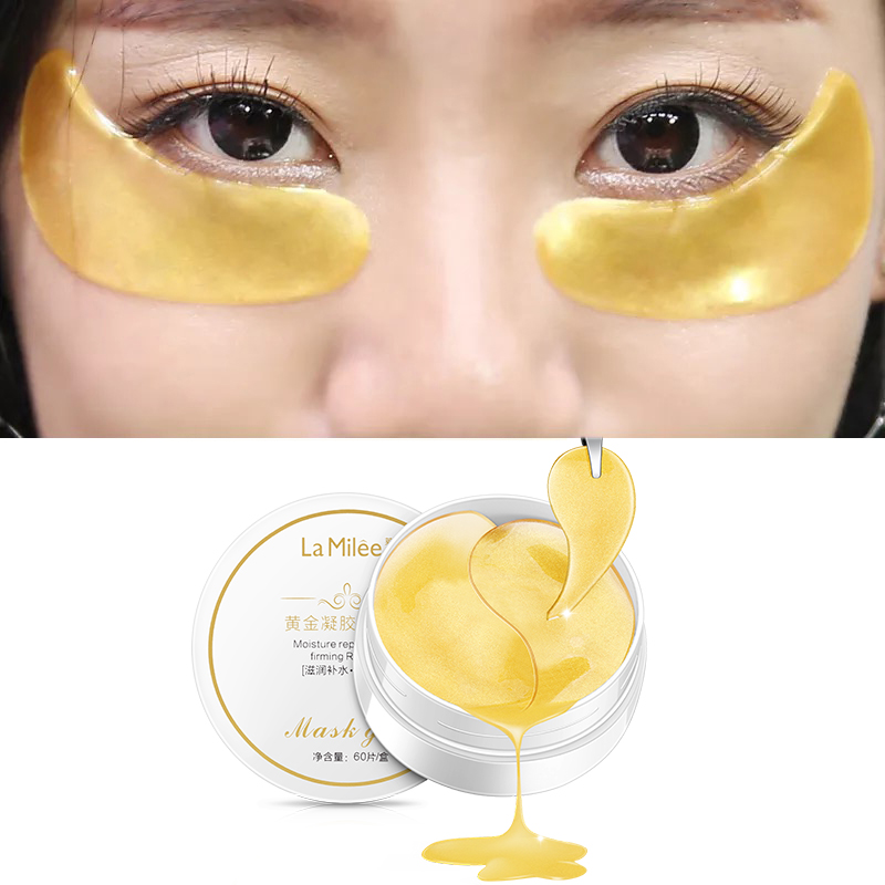 LAMILEE Gold Aquagel Collagen Eye Mask Ageless Sleep Mask Eye Patches Dark Circles Whitening Face Care Mask To Face Skin Care